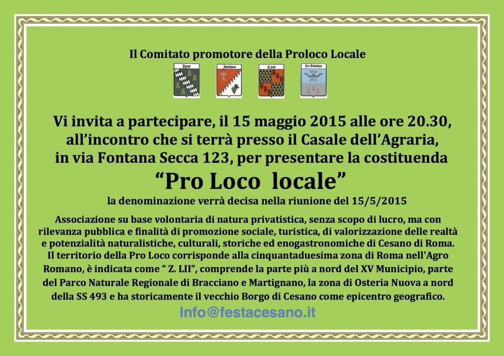Invito alla costituenda pro loco di Cesano