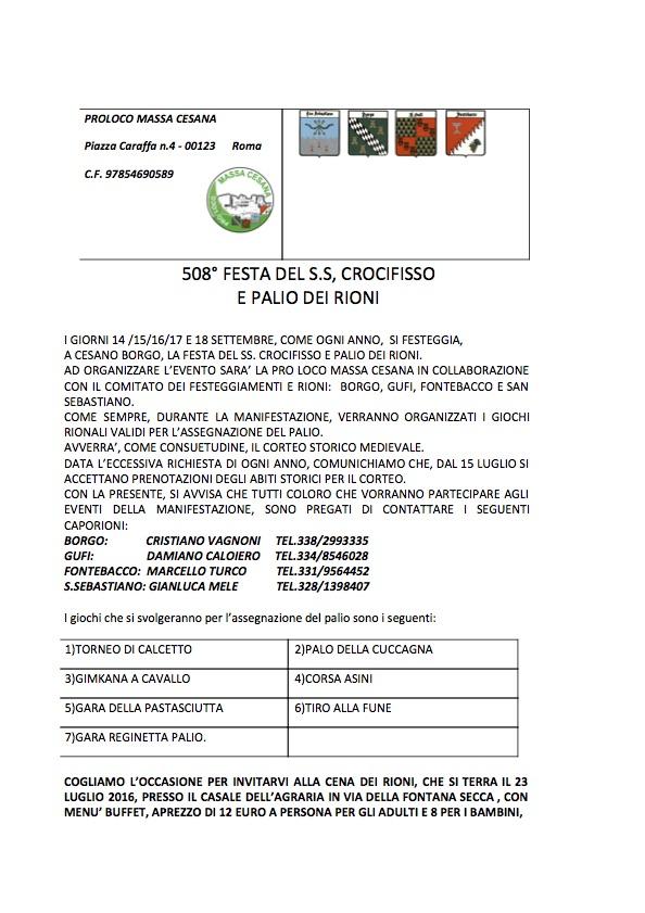 508° FESTA DEL S.S. CROCIFISSO AVVISO PREVENTIVO
