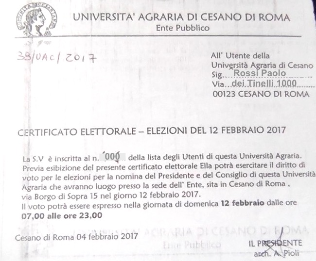 Certificato elettorale - Elezioni del 12 Febbraio 2017 - Università Agraria di Cesano di Roma